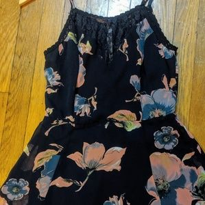 NWT FillyFlair Navy Floral Print Lace Halter Dress